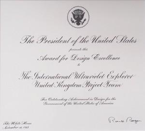 IUE Team Award from President Reagan
